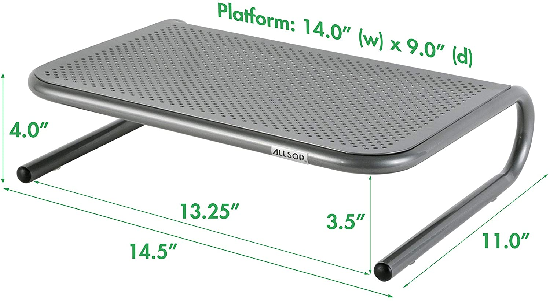 Allsop 06494 Metal Art Ergo 3 Adjustable Height Monitor Stand Steel 15 Inch Platfrm Pearl Black