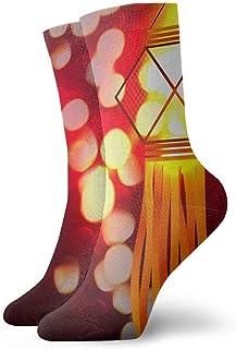 tyui7, Calcetines de compresión antideslizantes de la lámpara brillante roja Calcetines deportivos acogedores de 30 cm para hombres, mujeres y niños