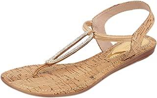 Catwalk Golden Leather Sandals for Women's