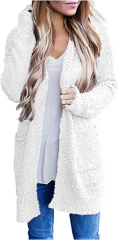 FABIURT Women Sweaters Trendy, Women's Casual Long Sleeve Open Front Cardigan Sweater Soft Knit Sweater with Pockets