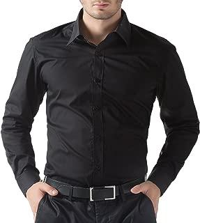 BEING FAB Men's Navy Blue Regular Fit Solid Formal Shirt