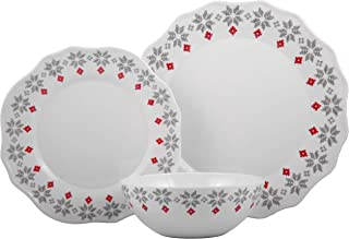 Melange 608410091443 18-Piece 100% Dinnerware Set for 6 Christmas Collection-Grey Holly Shatter-Proof and Chip-Resistant Melamine Dinner Plate, Salad Plate & Soup Bowl (6 Each), 10.5