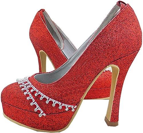 Qiusa GYMZ642 Chaussures de mariée Mariage Paillettes Bout Rond Talon Haut Satin (Couleuré   rouge-10cm Heel, Taille   6 UK)