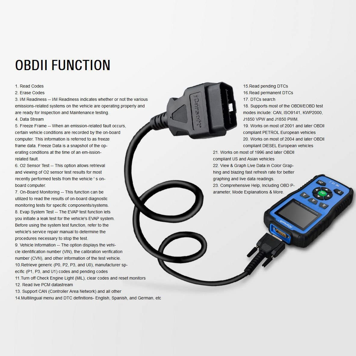 red iCarsoft Professional Multi-System OBD II Scanner VAWS V1.0 with Oil Service Reset for Audi//VW//Seat//Skoda