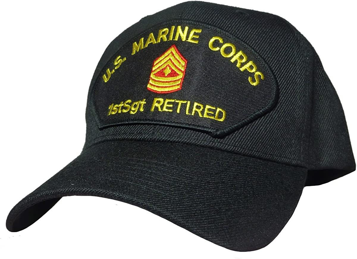 Military Productions Marine Corps First Sergeant Retired Cap Black