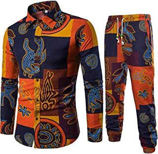 KLJR-Men Linen African Dashiki Print Shirt and Jogger Pants 2 Piece Set