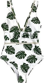 CUPSHE Women's Quiet Elegance Leaves Print Ruffled One-Piece Swimsuit Beach Swimwear Bathing Suit
