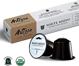 100% USDA Certified Organic Coffee - Nespresso Compatible Capsules - White Rhino Espresso Signature Blend (10 Pods)