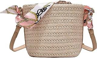 Summer Women Durable Weave Straw Beach Bags Woven Bucket Bag Grass Casual Silk Riband Handbags