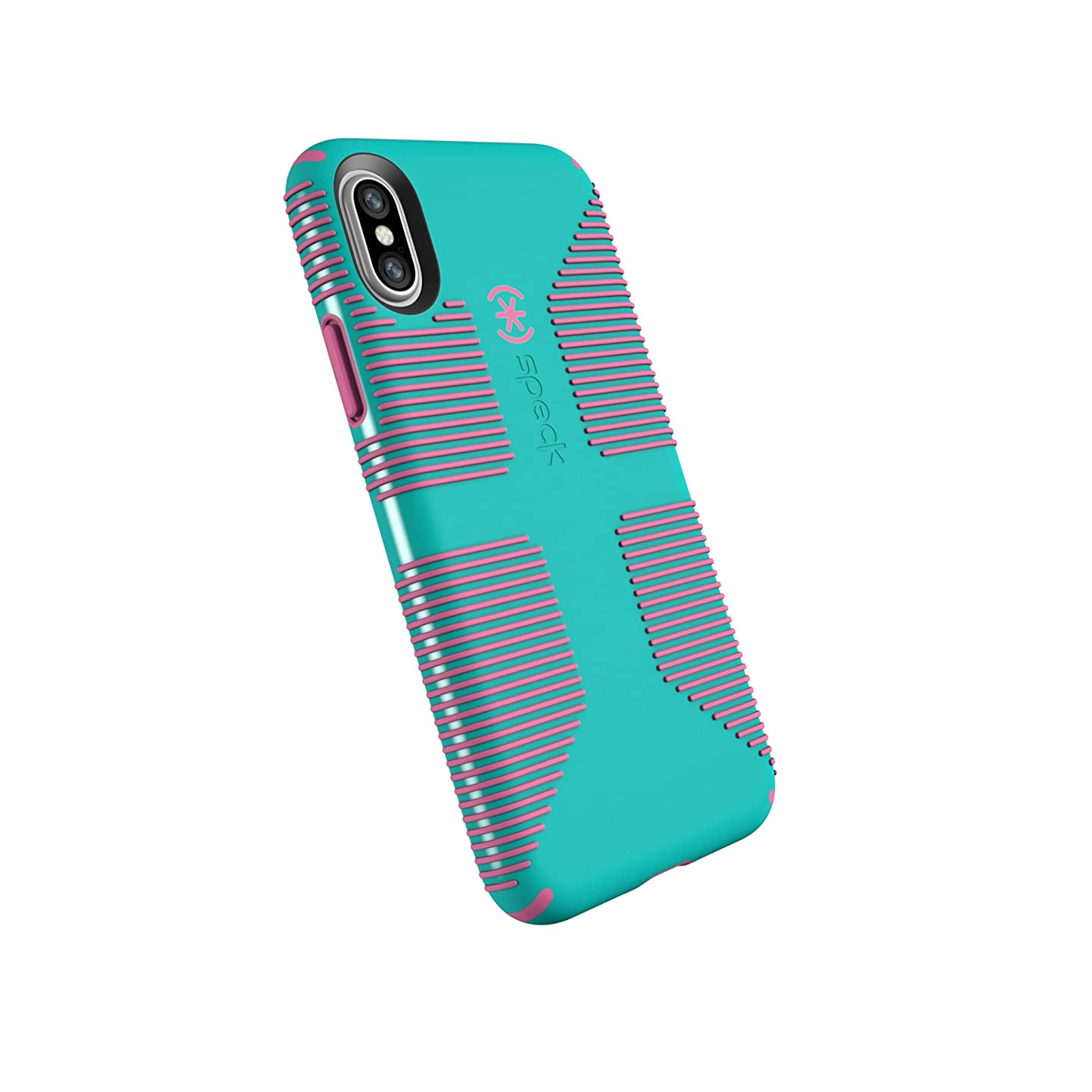 Speck Products CandyShell Grip Cell Phone Case for iPhone XS/iPhone X - Caribbean Blue/Bubblegum Pink