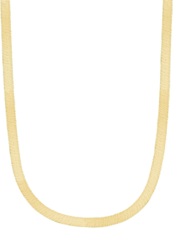 Ritastephens 14k Yellow Gold Shiny Herringbone Chain Necklace or Bracelet 3 Mm, 4 Mm