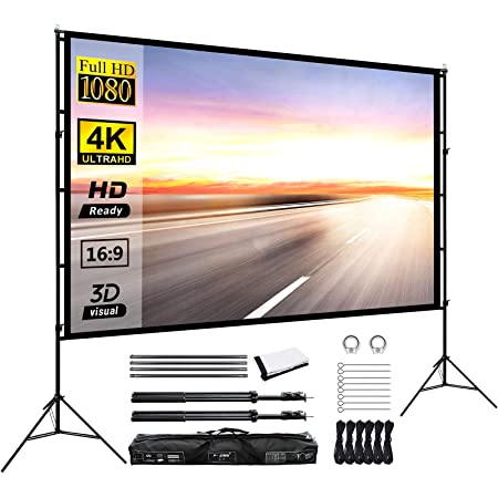 Projector Screen with Stand,100 Inch Portable Screen for Projector with Stand,16:9 Projection Screen for Home Theater Cinema Indoor Outdoor Front and Rear Projection,New Version