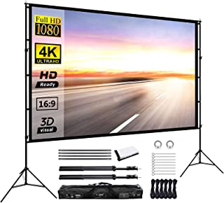 Projector Screen with Stand 120inch Portable Projection Screen 16:9 4K HD Rear Front Projections Movies Screen for Indoor ...