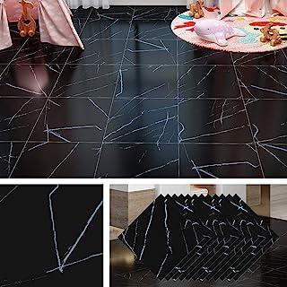 Livelynine 30CMX30CM 32 PCS Self Adhesive Floor Tiles Marble Vinyl Flooring Black Floor Tile Stickers for Kitchen Bathroom...