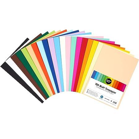 perfect ideaz 100feuilles de Cartonette DIN-A5 (148 x 210 mm), Papier à dessin, teinté dans la masse, en 20coloris différents, grammage 120g/m², Feuilles de bricolage d'excellente qualité