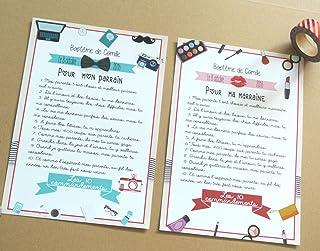 2 grands cartes les 10 commandements du parrain et de la marraine thème girly et moustache