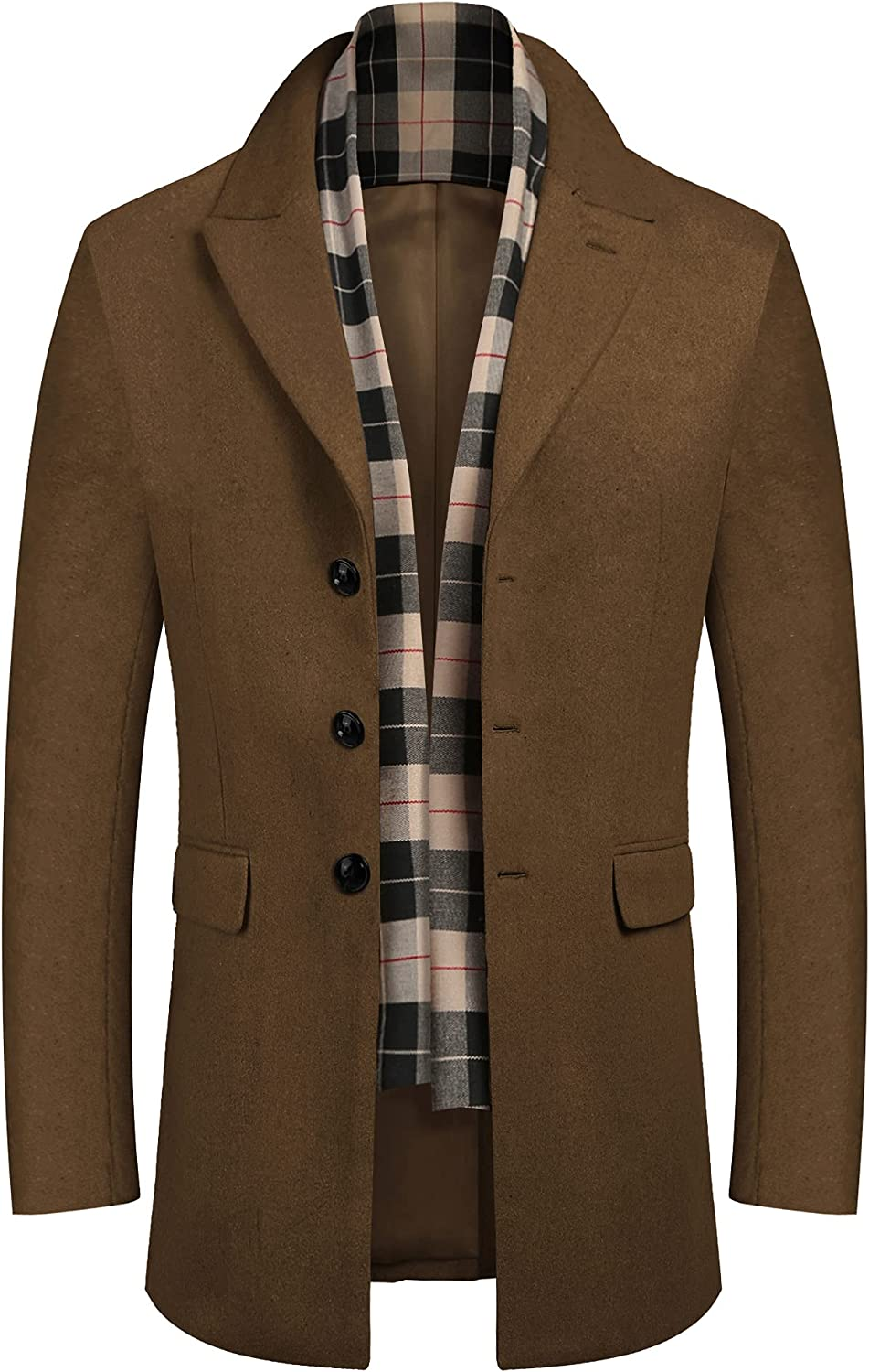 COOFANDY Men's Short Wool Blend Coat Notched Collar Single Breasted Pea Coat with Plaid Scarfs
