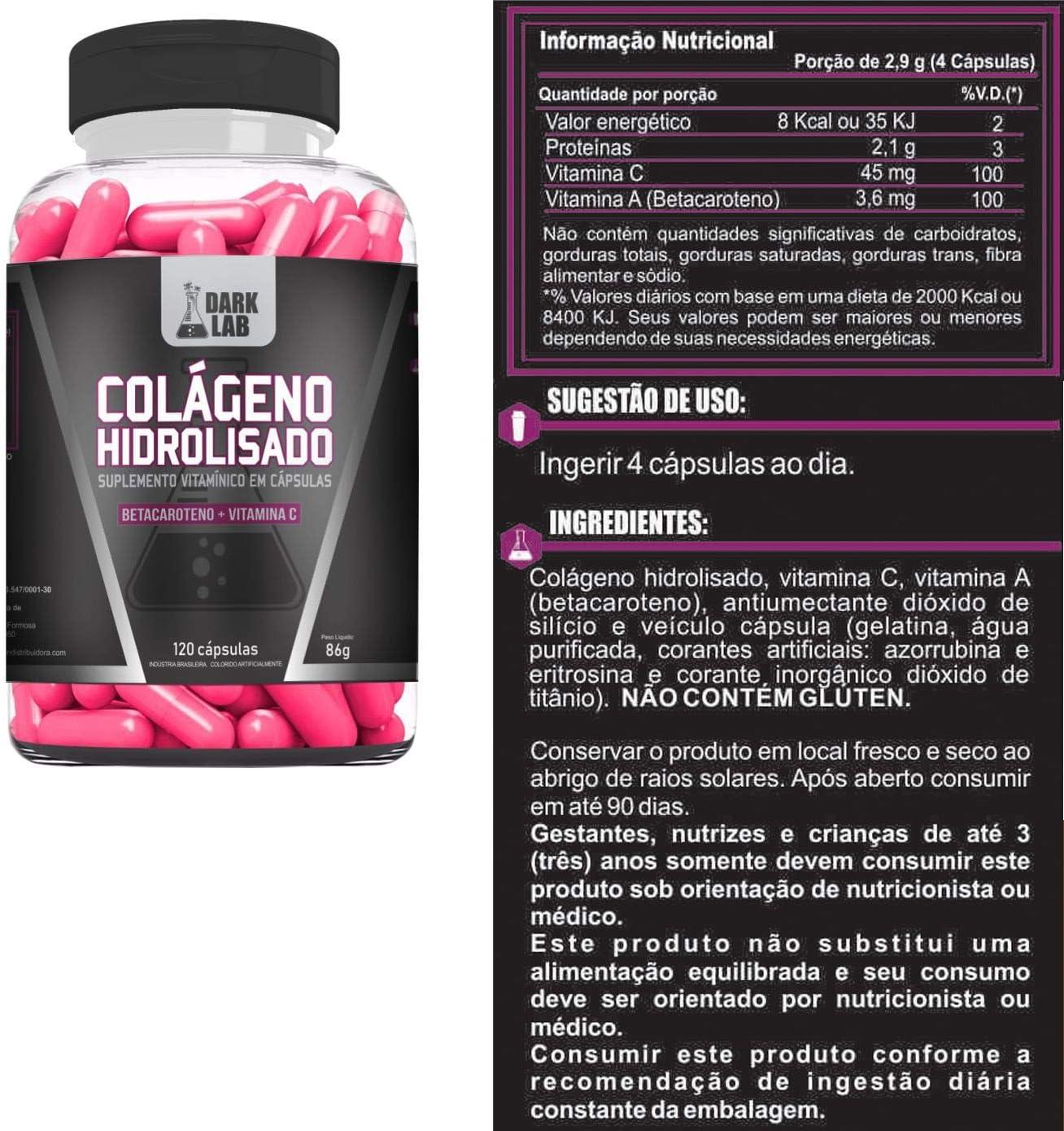 Com Kit 3x Colágeno Hidrolisado Dark Lab Collagen Com 360 Capsulas!