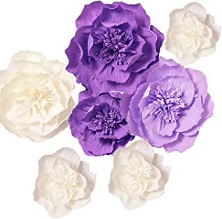Ling's moment Paper Flower Decorations, 7 X Crepe Paper Flower(8''-4'' Assorted), Handcrafted Purple & Cream Flowers for Wedding, Baby Nursery, Bridal Shower, Photo Booth Backdrop, Centerpieces