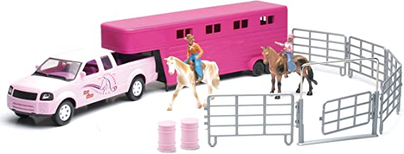 Valley Ranch Pink Pick Up Truck and Horse Trailer Playset