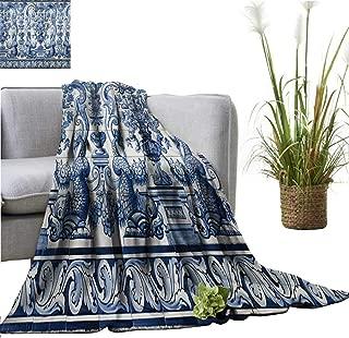 YOYI Comfortable blanketblue White Tile Paint Leal senado buil in Macau Enlisted Cozy Hypoallergenic 60