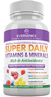 Evergenics Super Daily Wholefood Multivitamins, Minerals and Antioxidants for Adults. Delicious Gummies Offering Complete ...