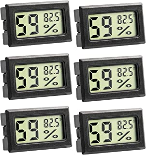 Quiote Refrigerator Fridge Freezer Thermometer Hygrometer, Room Mini Digital Electronic Temperature Humidity Meters with LCD Display for Kitchen, Home, Office (Black-6Pack)