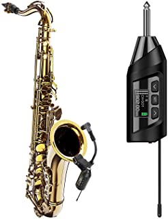 SGPRO Wireless Saxophone Microphone System, Preset Echo Function, Clip On Instrument Microphone Tuba French Horn Trumpet T...