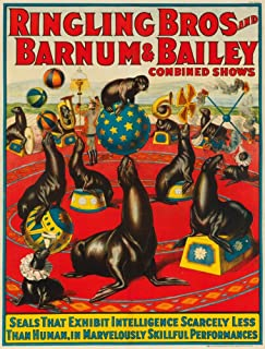 Ringling Bros and Barnum and Bailey - Seals Vintage Poster USA c. 1924 62936 (24x36 SIGNED Print Master Art Print - Wall Decor Poster)