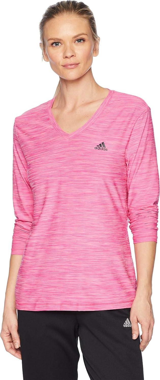 Adidas Training Long Sleeve Tech Tee, Real Magenta Heather Black