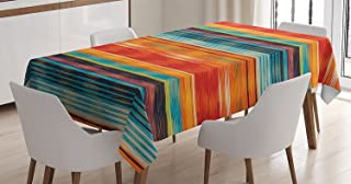Mexican Decorations Tablecloth by Ambesonne, Vibrant Vintage Aztec Motif with Gradient Blurred Lines Ecuador Crafts Image, Dining Room Kitchen Rectangular Table Cover, 60W X 84L Inches, Multi