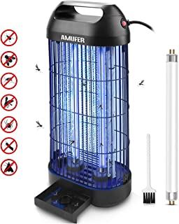 AMUFER Bug Zapper Electric Mosquito Killer/Zapper, Fly Trap Indoor Powerful Insect Killer Fly Zapper with UV Mosquito Lamp for Indoor Home Office,1-Pack Replacement Bulb Included
