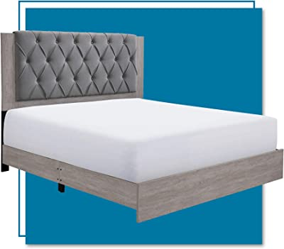 ClickDecor Kenton Upholstered Panel Bed with Diamond Tufted Wooden Headboard, Mattress Foundation, No Box Springs Needed, Wood Frame Slats Support with Easy Assembly, King, Light Gray