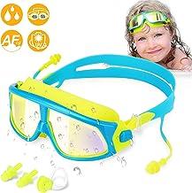 Wotek Zwembril voor kinderen, met uv-bescherming en anti-condens-coating, 2 x oordopjes, 1 x neusclip, cadeau voor meisjes...