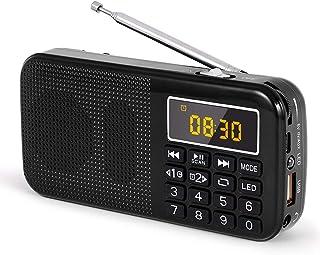J-725 携帯 ラジオ 充電式 ワイドfm ラジオ ポータブル ミニデジタルラジオ ワイドFM SD USB MP3 懐中電灯付き、目覚まし時計機能付き 売れ筋として 大容量(3000mAH) 充電式バッテリー 30時間連続再生by Gemean