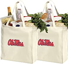 Reusable Ole Miss Shopping Bags or University of Mississippi Grocery Bag 2Pc Set Natural Cotton