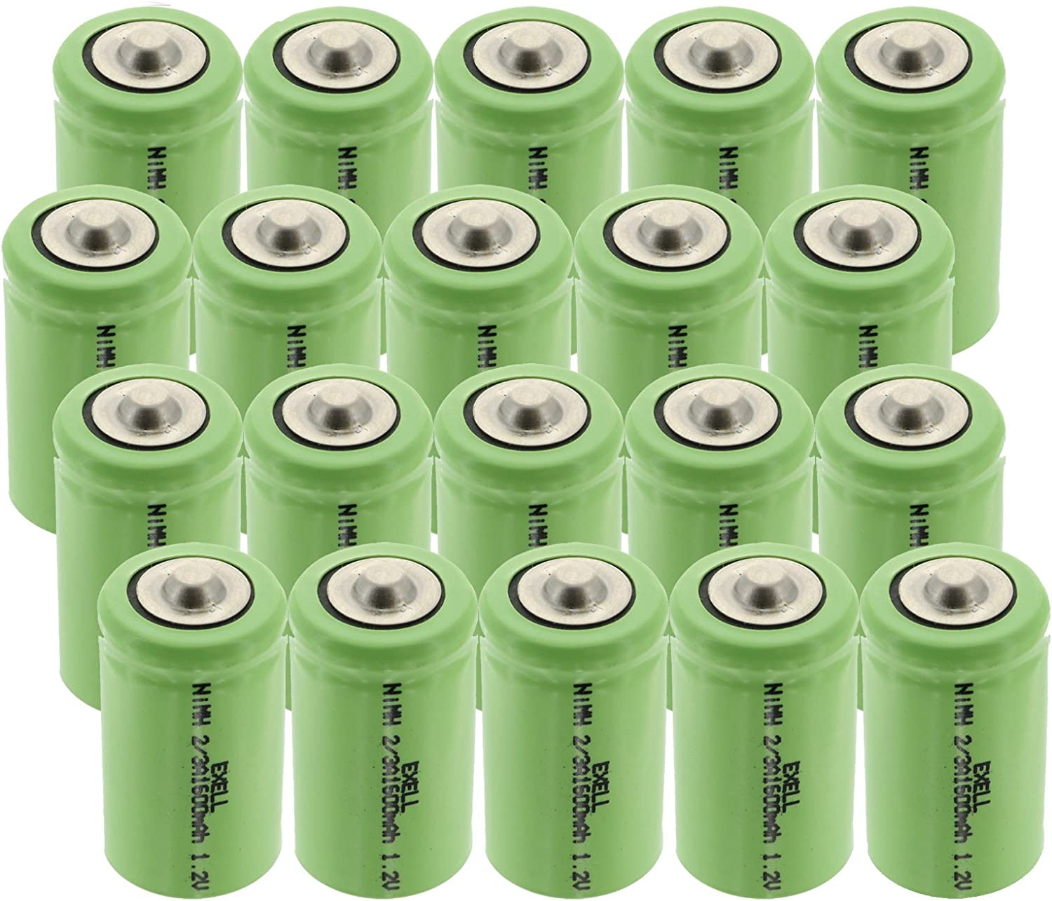 20x Exell 2 3A 1600mAh 新作通販 1.2V Button NIMH Batteri Rechargeable Top 特価キャンペーン