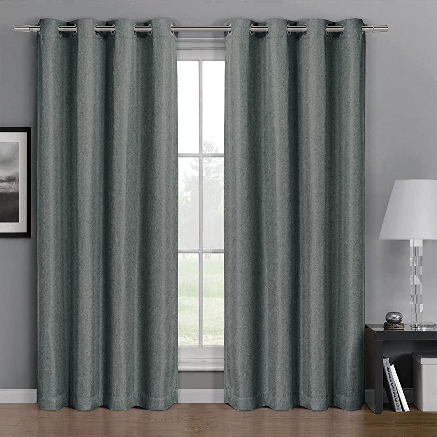 Pair of Two Top Grommet Gulfport Faux Linen Blackout Weave Thermal Insulated Curtain Panels, Elegant and Contemporary Gulfport Blackout Panels, Set of Two Grey 52