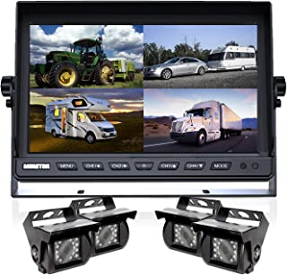 $399 » Backup Camera System, DOUXURY 4 Split Screen 9'' Quad View Display HD 1080P Monitor with DVR Recording Function, IP69 Wate...