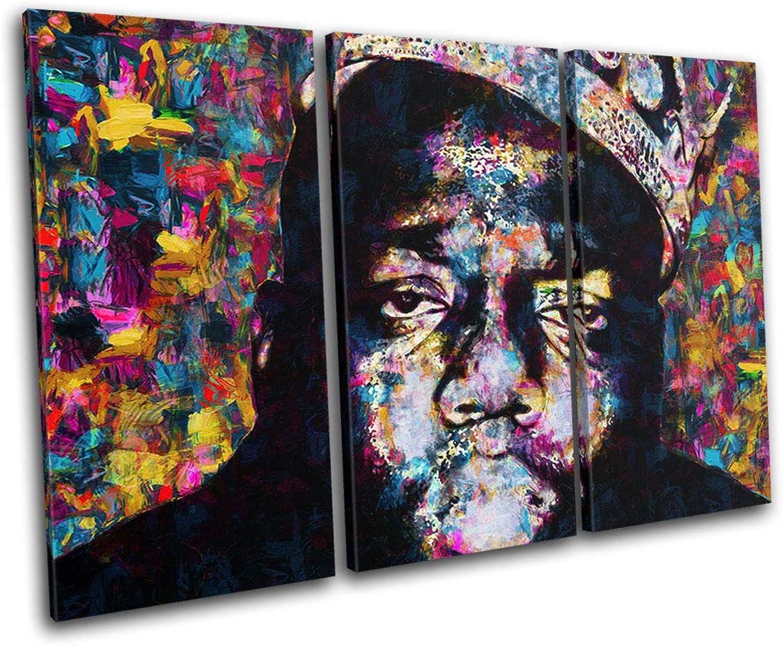 Bold Bloc Design - Notorious Big Biggie Iconic Celebrities 150x100cm Treble Leinwand Kunstdruck Box gerahmte Bild Wand hangen - Bereit Zum Aufhangen - Canvas Art Print RC-8669(00B)-TR32-LO-D