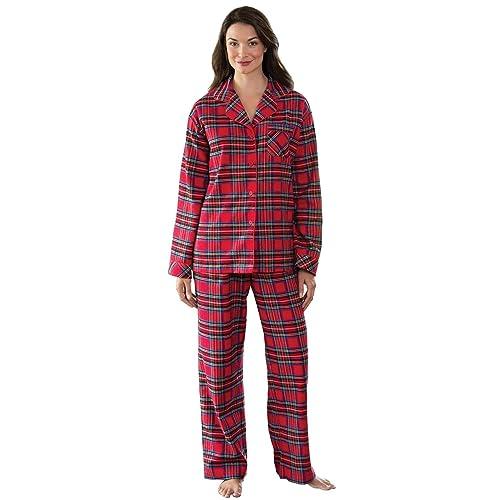 b9f072e4a957 PajamaGram Flannel Pajamas Women Plaid - Button Front Womens Pajama Sets