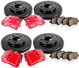 CCK01858 FRONT + REAR Powder Coated Red [4] Calipers + [4] Black D/S Rotors + Quiet Low Dust [8] Ceramic Pads