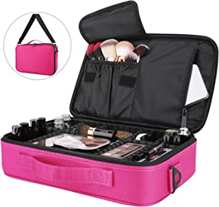 Travel Makeup Case, Luxspire Cosmetic Makeup Train Case Portable Makeup Bag Cosmetic Case Large Cosmetics Makeup Box Organizer With Shoulder Strap - Magenta
