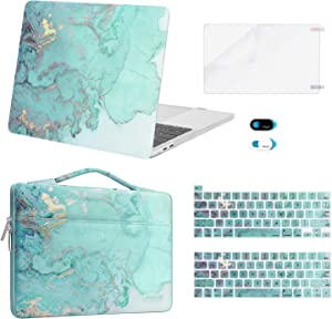 MOSISO Compatible with MacBook Pro 13 inch Case 2016-2020 A2338 M1 A2289 A2251 A2159 A1989 A1706 A1708, Plastic Watercolor Marble Hard Case&Bag&Keyboard Skin&Webcam Cover&Screen Protector, Green