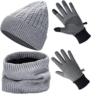 3-Pieces Winter Beanie Knit Hat Neck Warm Scarf Touch Screen Gloves Set Ski Skull Cap with Thick Fleece Lined for Women Men