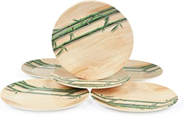 Golden Fish Melamine Wooden/Bamboo Printed Full Size Round Dinner Plate (Set of 6; 11 Inches)