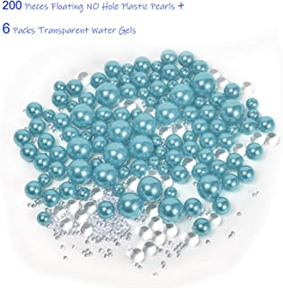 Z-synka Assorted Plastic Bead Pearls,200Piece Sale Floating NO Hole Plastic Pearls + Includes 6Pack Transparent Water Gels for Floating The Pearls,Wedding,Birthday Party Home Decoration,Light Blue