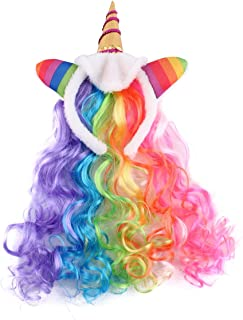 Felizhouse Rainbow Unicorn Wig For Girls Kids Halloween Cosplay Wig Headband for Party Costumes Accessories