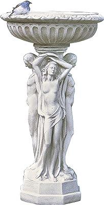 Design Toscano OS59146 Socle sculpté de la Colonne des ménades, Blanc Cassé, 45,5 x 45,5 x 89 cm