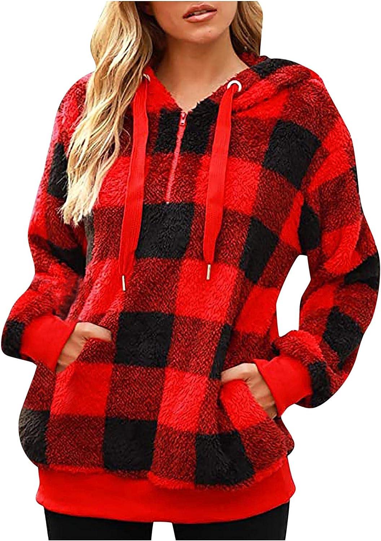 Womens Zip Up Hoodie Fashion Pullover L Plaid Fleece Coat OFFicial shop Super intense SALE Winter